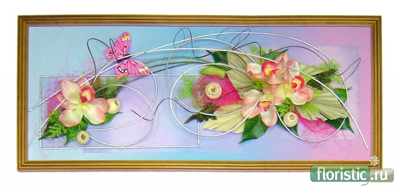Настенное панно из искусственных цветов