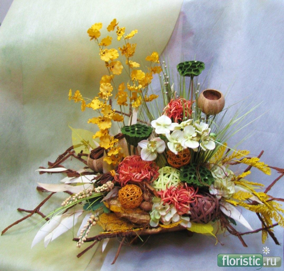 Экибаны из искусственных цветов своими руками фото