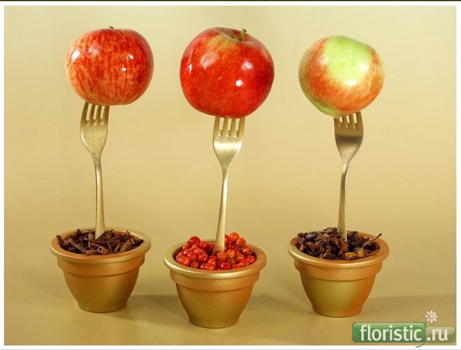 Как сделать топиарий из яблок своими руками 1